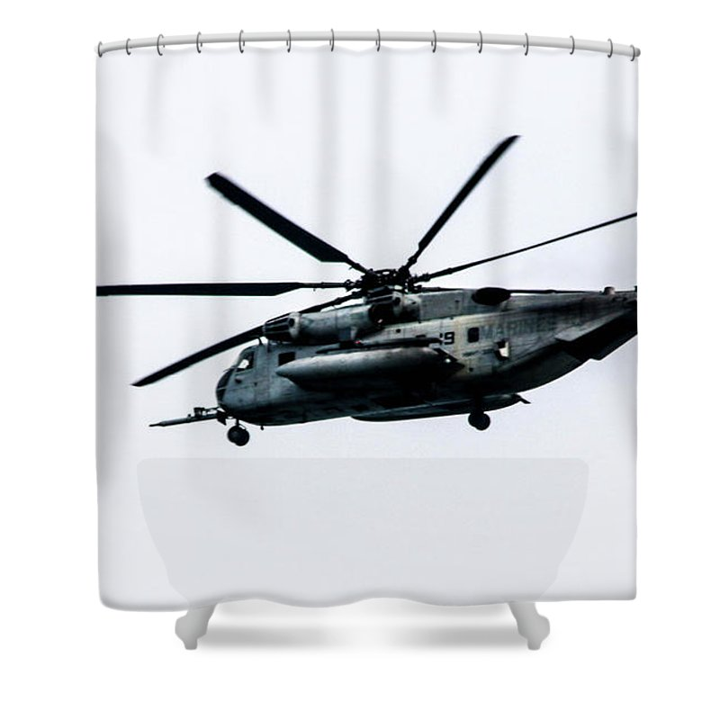 This Is A Photo Of A Us Marine Corps Ch-53e Super Stallion Shower Curtain featuring the photograph A Us Marine Corps Ch 53e Super Stallion by William Rogers