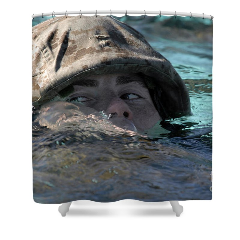 Adults Only Shower Curtain featuring the photograph A U.s. Marine Swims Across A Training by Stocktrek Images