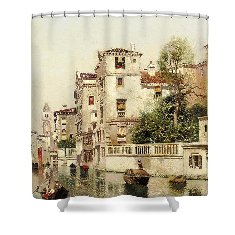 Henry Pember Smith Shower Curtain featuring the painting A Venetian Canal by Henry Pember Smith