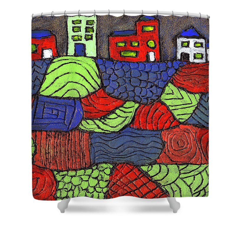 Whimsical Shower Curtain featuring the painting A Very Colorful Neighborhood by Wayne Potrafka