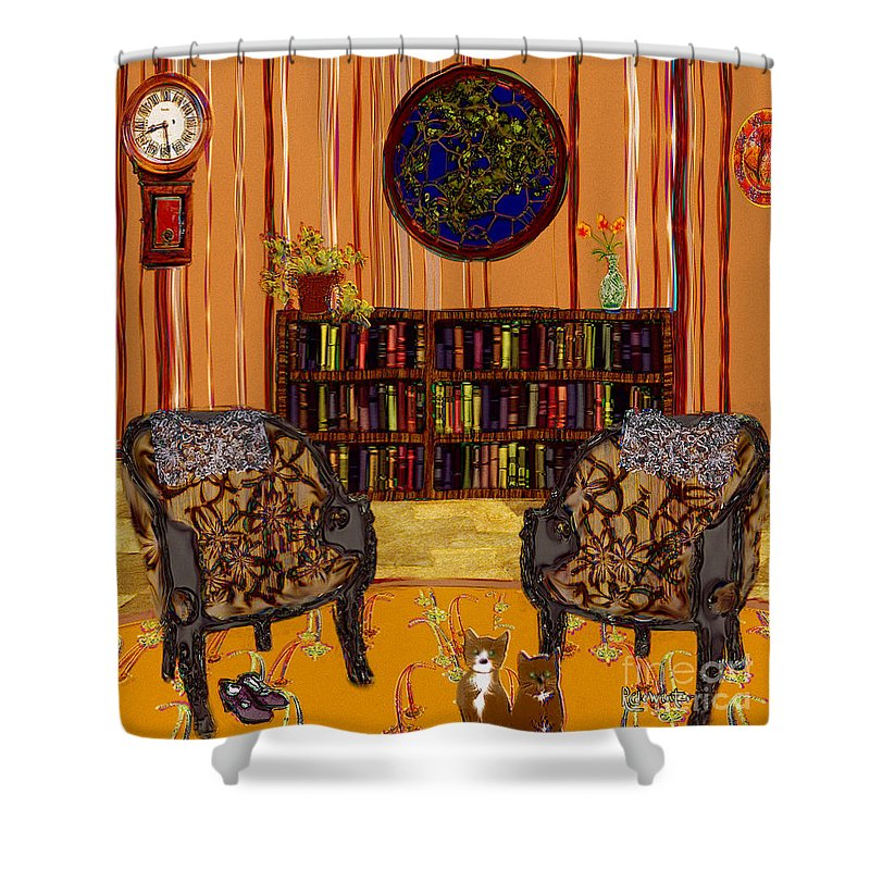 Folk Art Shower Curtain featuring the painting A Victorian Horror by RC deWinter
