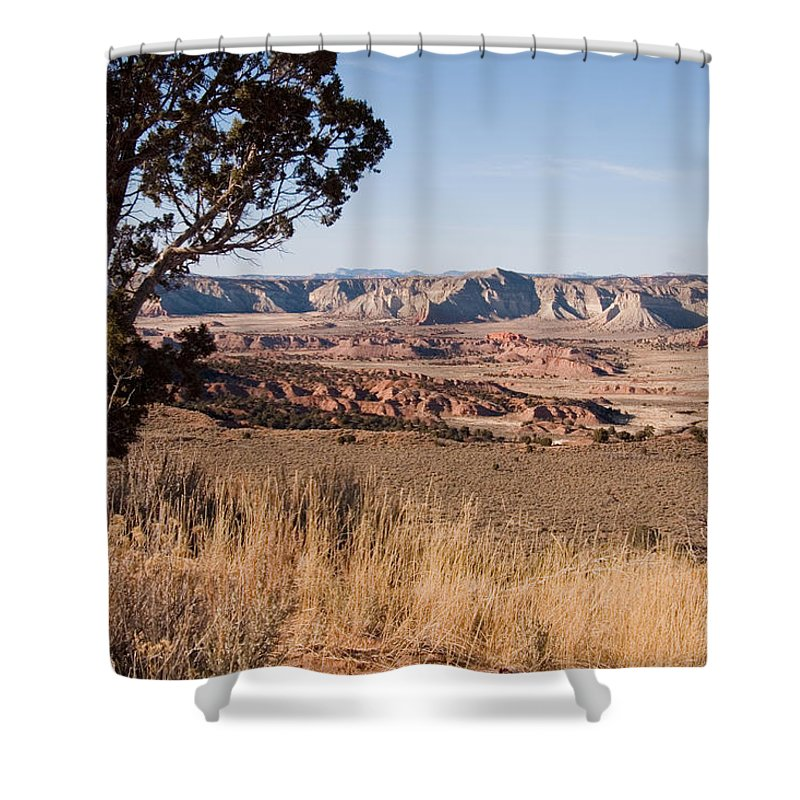 Utah Shower Curtain featuring the photograph A View Down Into The Canyon That Forms by Taylor S. Kennedy