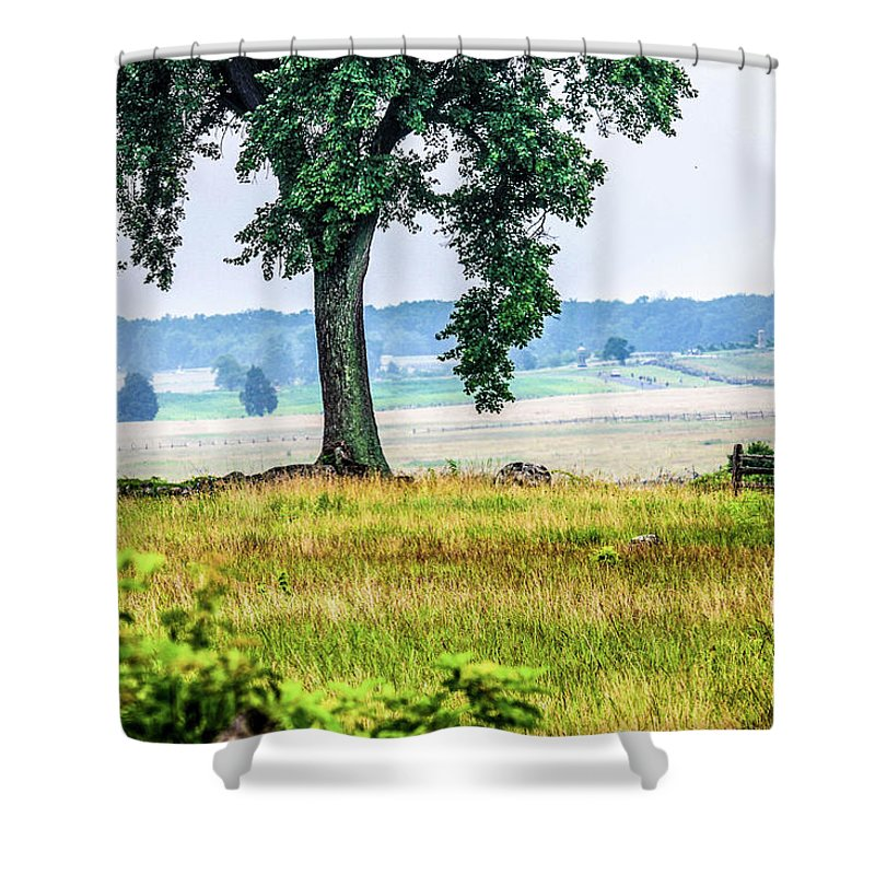 This Is A Photo View From Hancock Avenue Passed The Angle Looking At The Confederate Side Of The Gettysburg Battlefield Shower Curtain featuring the photograph A View From Hancock Avenue by William Rogers