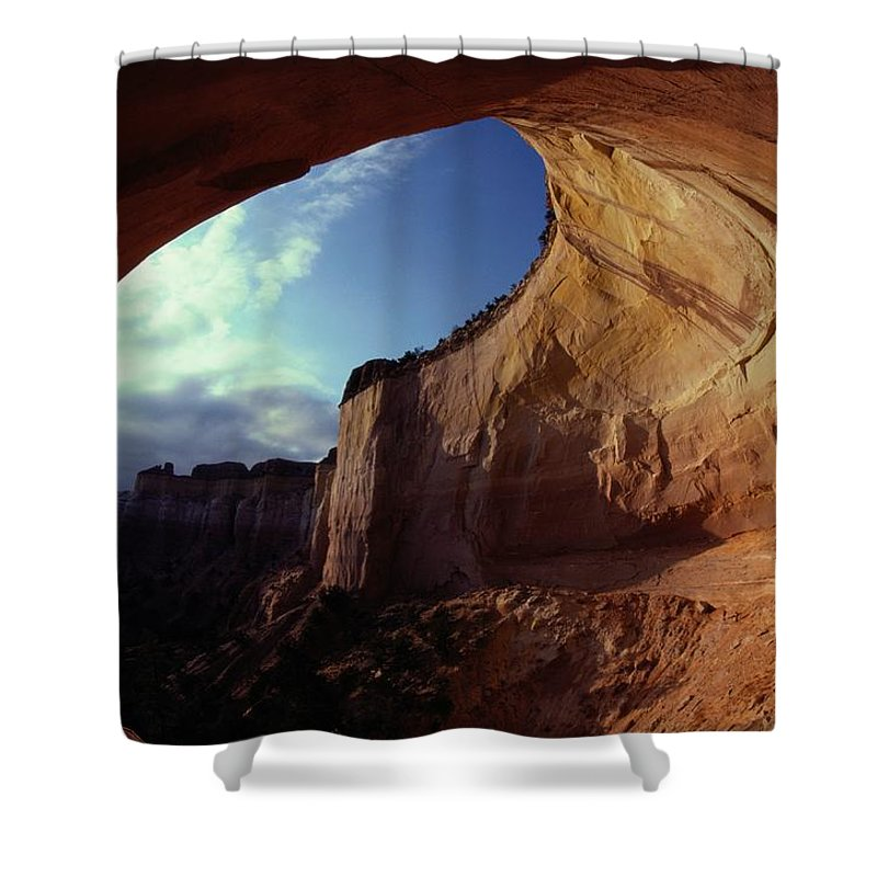 North America Shower Curtain featuring the photograph A View From The Mouth Of A Cave Of Echo by Paul Chesley