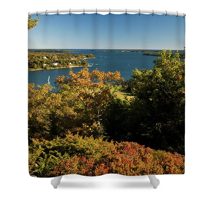 acadia National Park Shower Curtain featuring the photograph A View From The Top by Paul Mangold