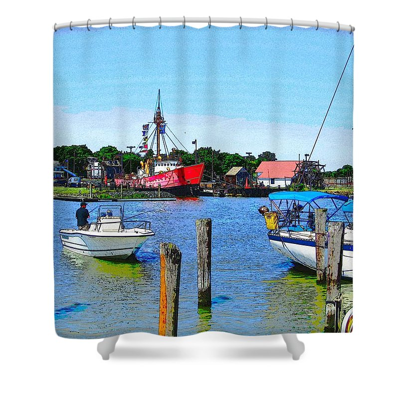 Lewes Delaware Photography Shower Curtain featuring the photograph A View Of The Light Ship by Jeffrey Todd Moore
