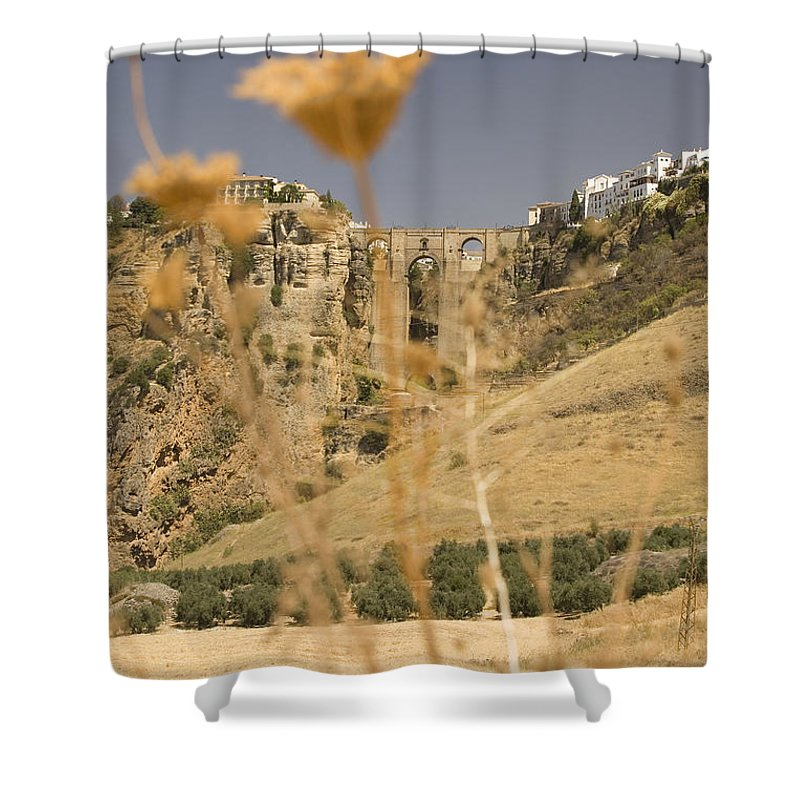 Tajo Shower Curtain featuring the photograph A View Of The Tajo De Ronda And Puente Nuevo Bridge Serrania De Ronda Andalucia Spain by Mal Bray