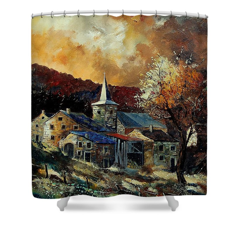 Tree Shower Curtain featuring the painting A Village In Autumn by Pol Ledent
