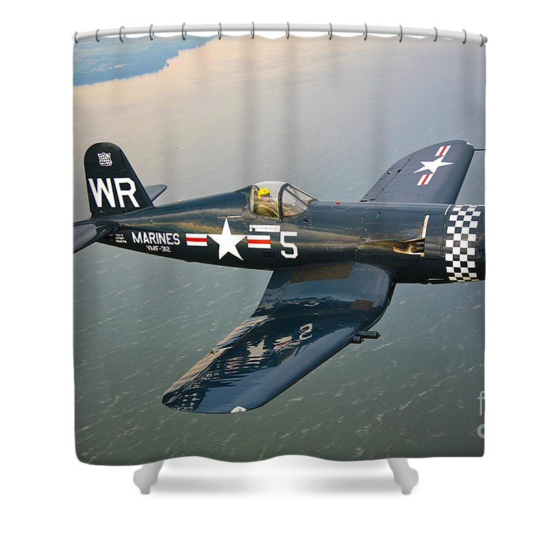 Transportation Shower Curtain featuring the photograph A Vought F4u-5 Corsair In Flight by Scott Germain