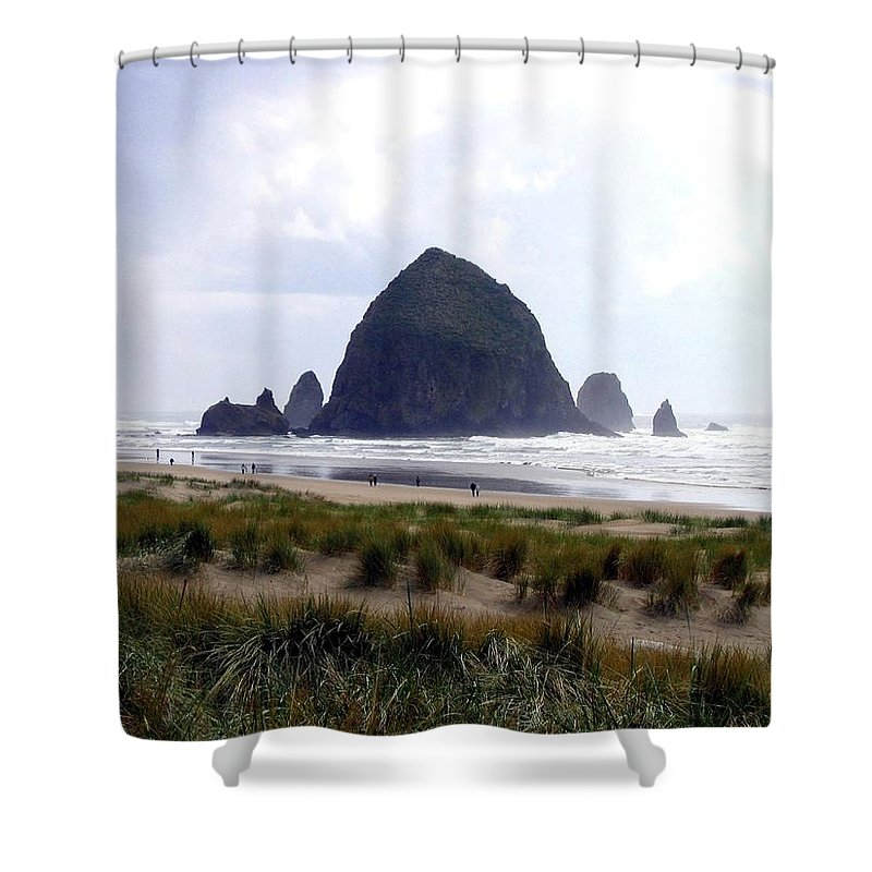 Cannon Beach Shower Curtain featuring the photograph A Walk In The Mist by Will Borden