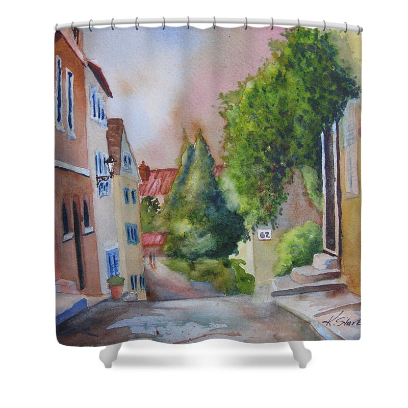 Cityscapes. Architecture Shower Curtain featuring the painting A Walk In The Village by Karen Stark