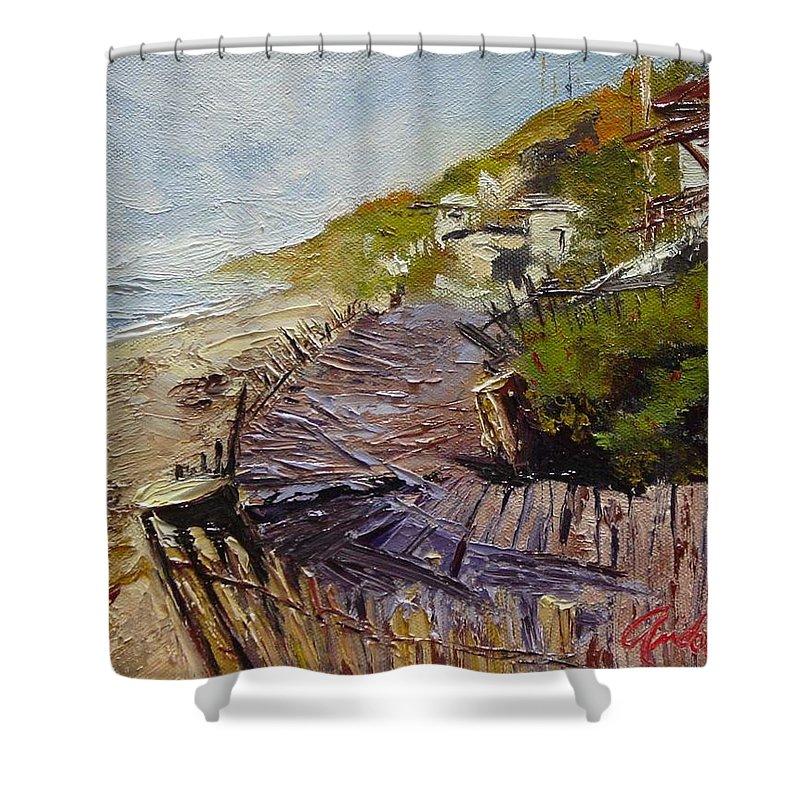 Beach Shower Curtain featuring the painting A Walk On The Beach by Barbara Andolsek