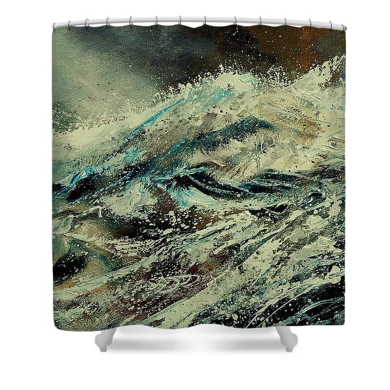 Sea Shower Curtain featuring the painting A Wave by Pol Ledent