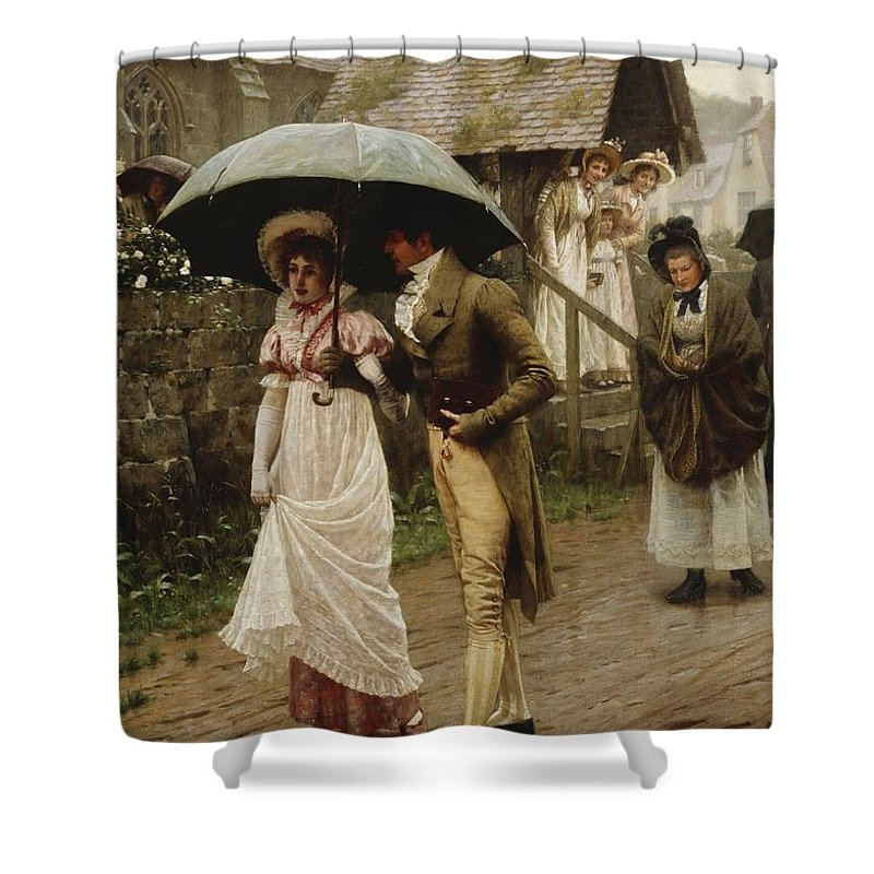 A Wet Sunday Morning Shower Curtain featuring the painting A Wet Sunday Morning by Edmund Blair Leighton