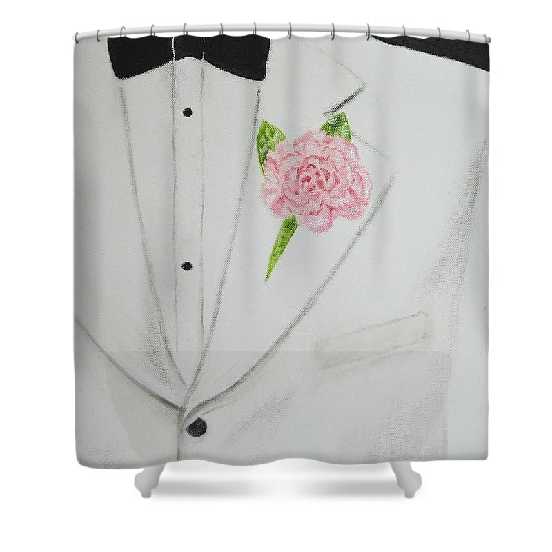 Carnations Shower Curtain Featuring The Painting A White Sport Coat And Pink Carnation By Mary