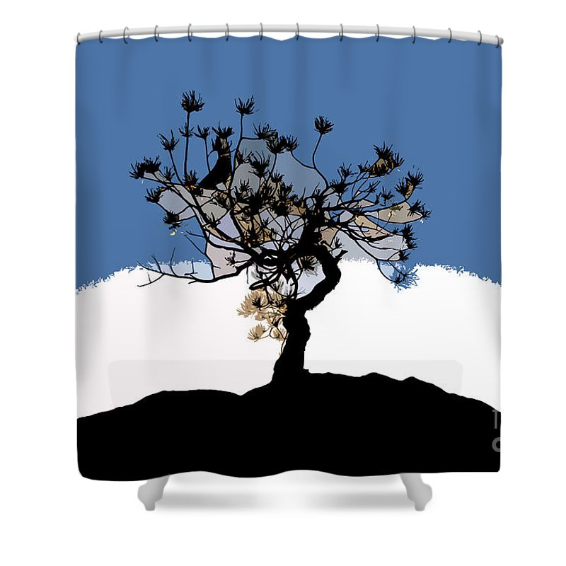 Tree Shower Curtain featuring the painting A Will To Live by David Lee Thompson