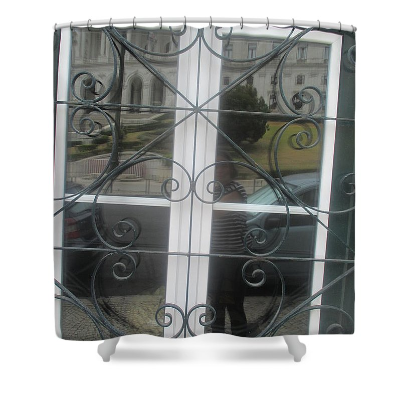 Window Shower Curtain featuring the photograph A window with a reflection of cars and my portrait by Anamarija Marinovic