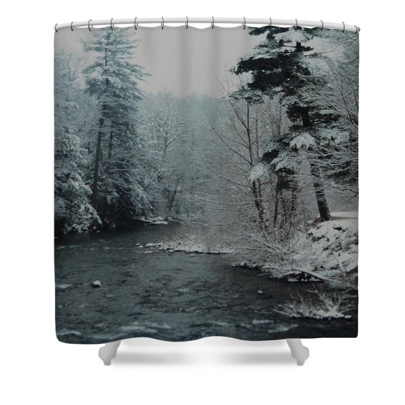 B&w Shower Curtain featuring the photograph A Winter Waterland by Rob Hans