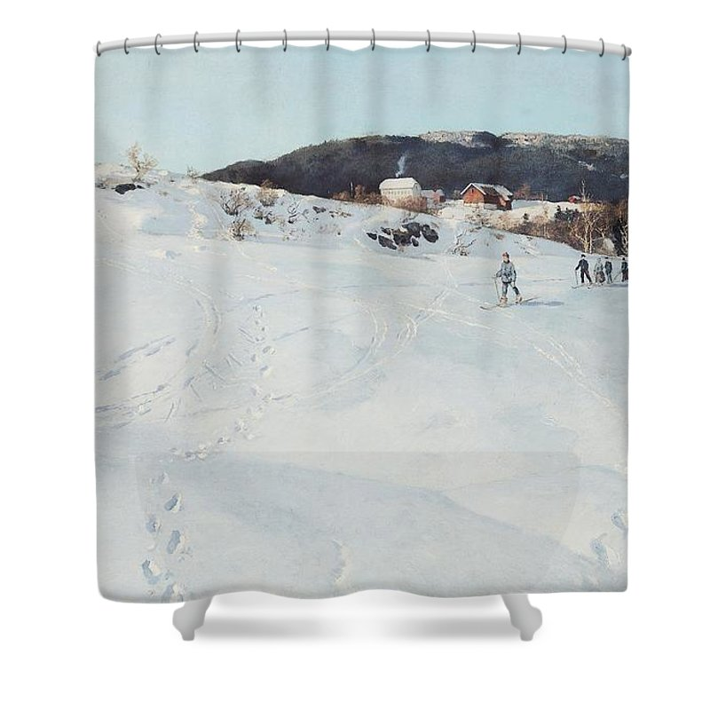Winter Shower Curtain featuring the painting A Winter's Day In Norway by Fritz Thaulow