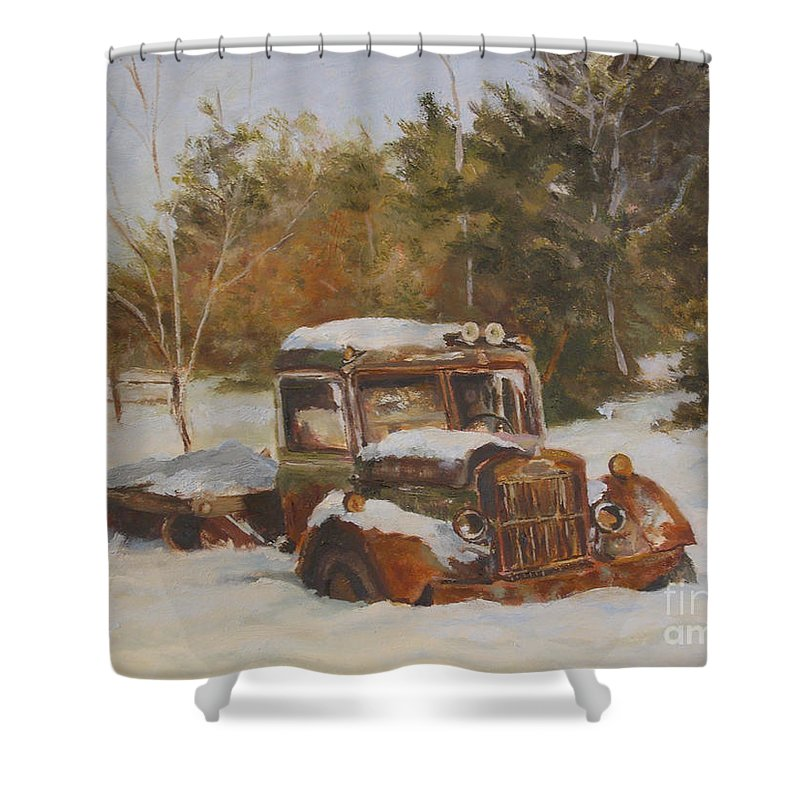 Vintage Shower Curtain featuring the painting A Winter's Nap by Alicia Drakiotes
