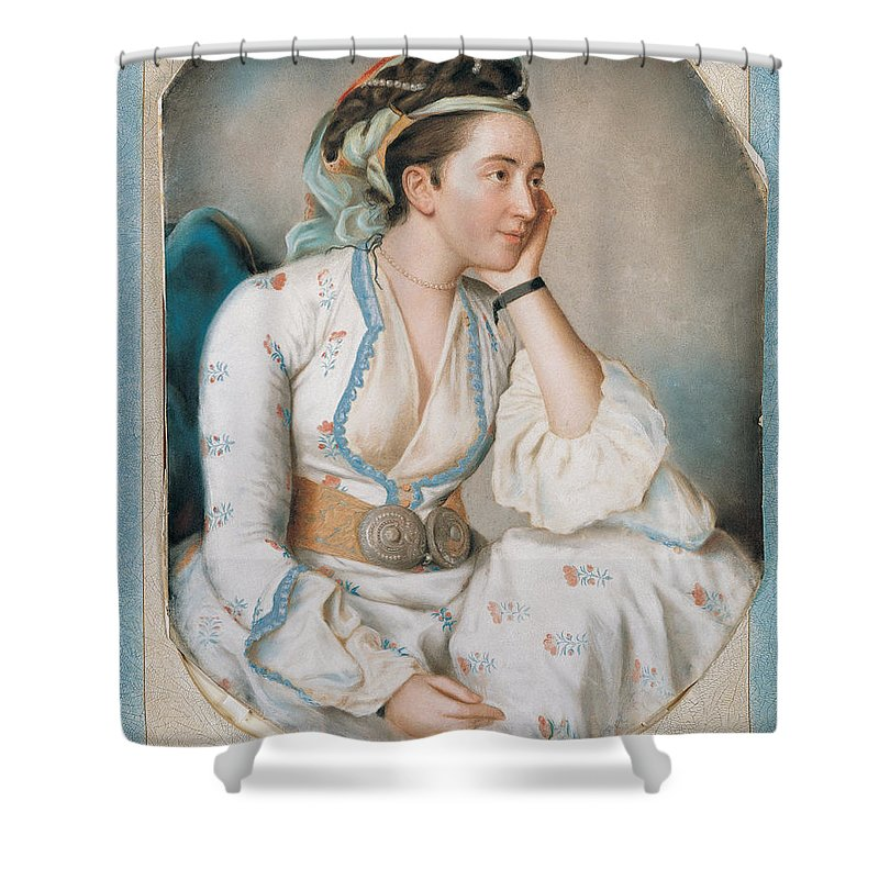 A Woman In Turkish Dress Painting By Jean Etienne Liotard Shower Curtain Featuring The