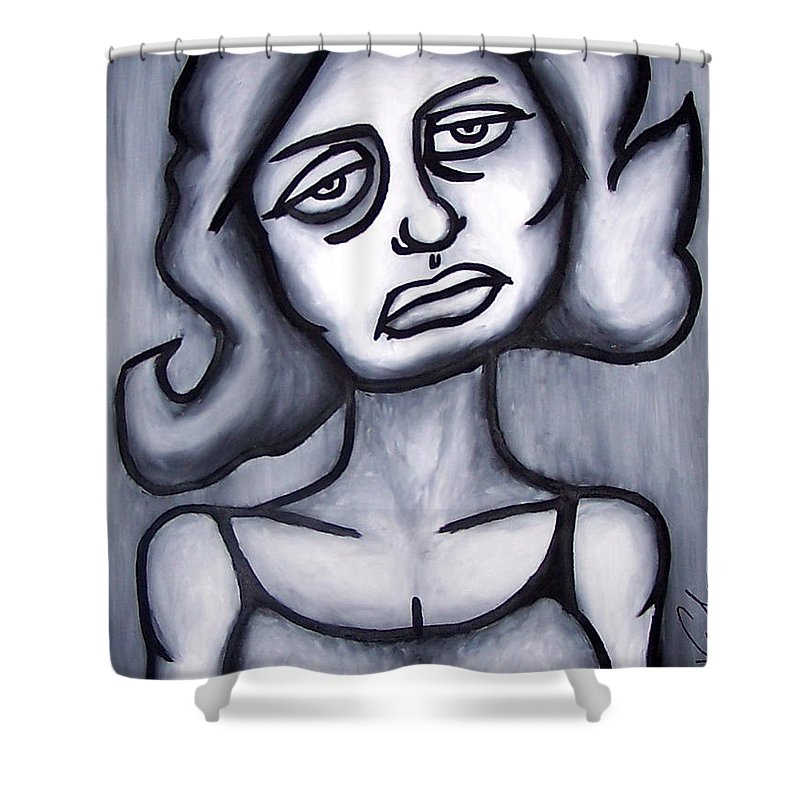 Portait Shower Curtain featuring the painting A Woman by Thomas Valentine