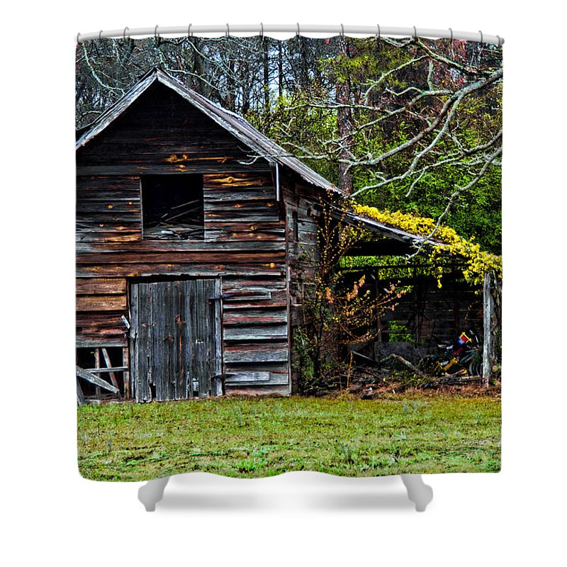 Barn Shower Curtain featuring the photograph A Yellow Cover by Christopher Holmes