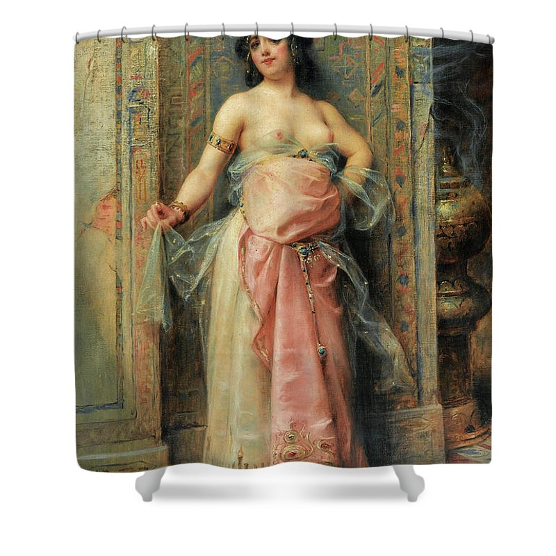 Henri Adrien Tanoux Shower Curtain featuring the painting A Young Oriental Girl With A Perfume Burner by Henri Adrien Tanoux
