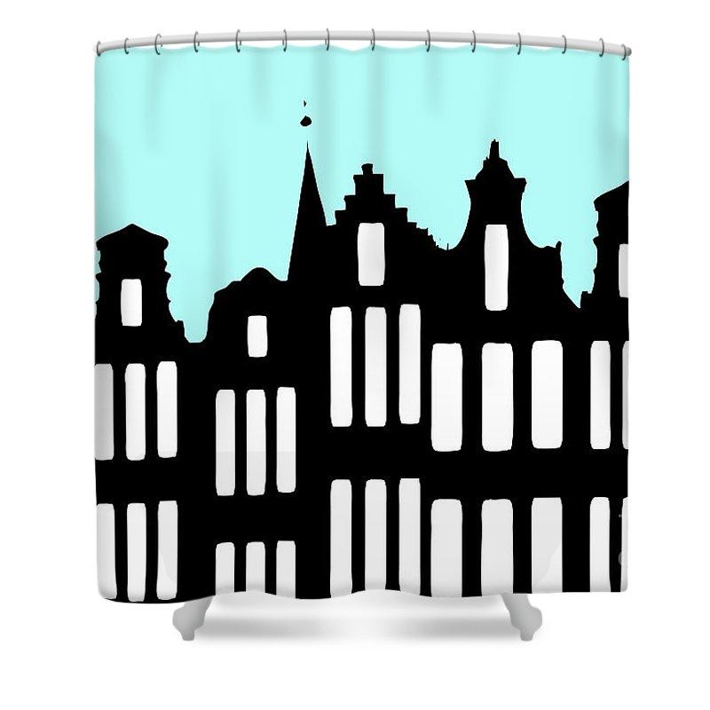 Dutch Shower Curtain featuring the digital art Aan De Amsterdamse Grachten - On The Amsterdam Canals by Richard Wareham