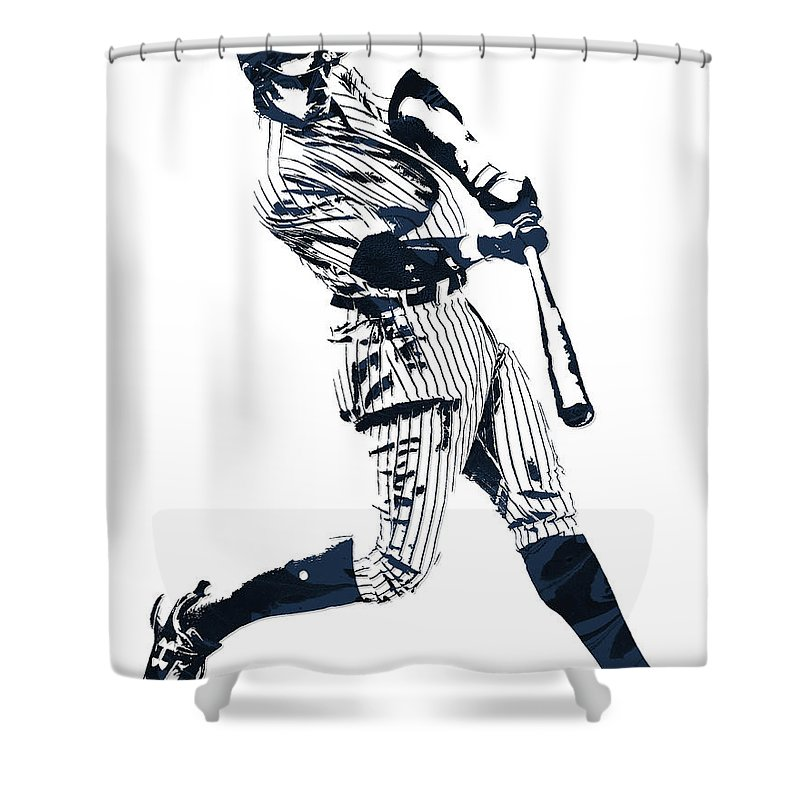 Aaron Judge New York Yankees Pixel Art 1 Shower Curtain For Sale By Joe Hamilton