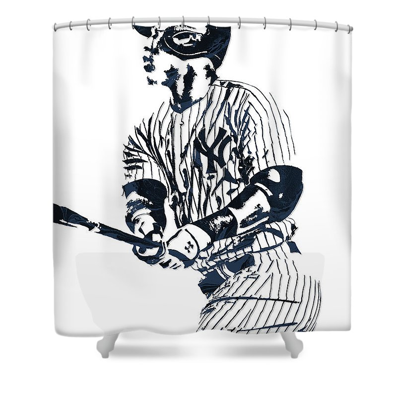 Aaron Judge Shower Curtain Featuring The Mixed Media New York Yankees Pixel Art 11