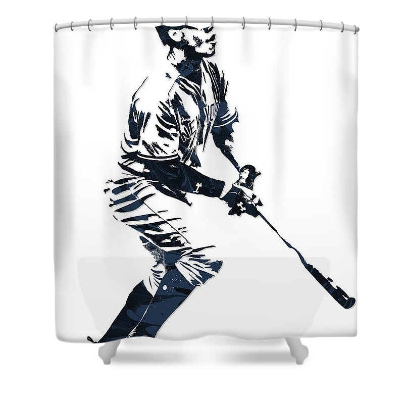 Aaron Judge Shower Curtain Featuring The Mixed Media New York Yankees Pixel Art 13