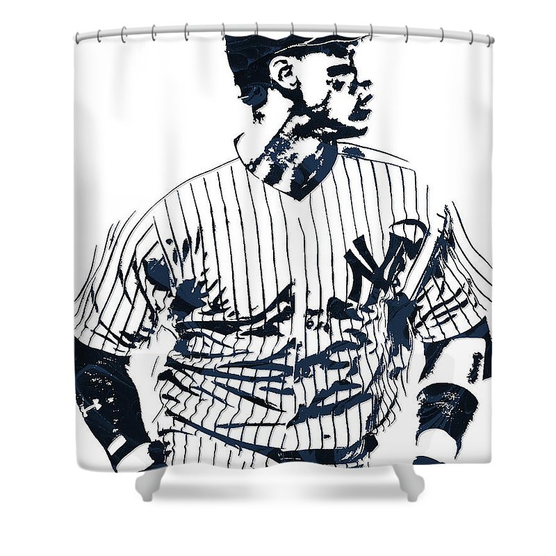 Aaron Judge Shower Curtain Featuring The Mixed Media New York Yankees Pixel Art 2
