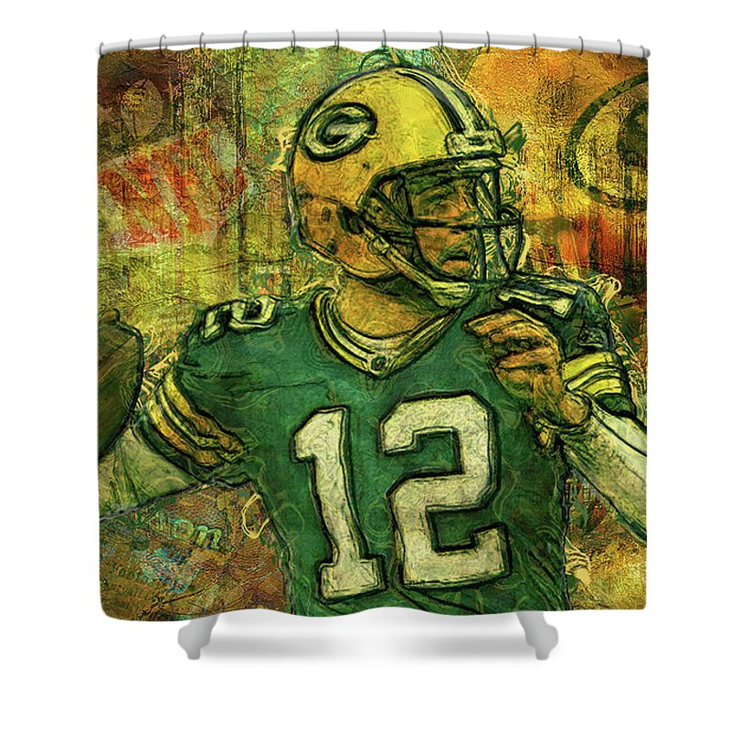 Aaron Rodgers Shower Curtain Featuring The Painting 2 Green Bay Packers By Jack Zulli