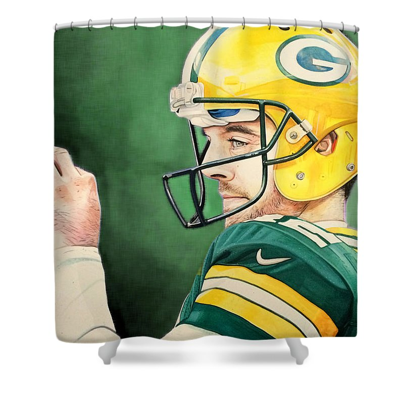 Aaron Rodgers Shower Curtain Featuring The Painting