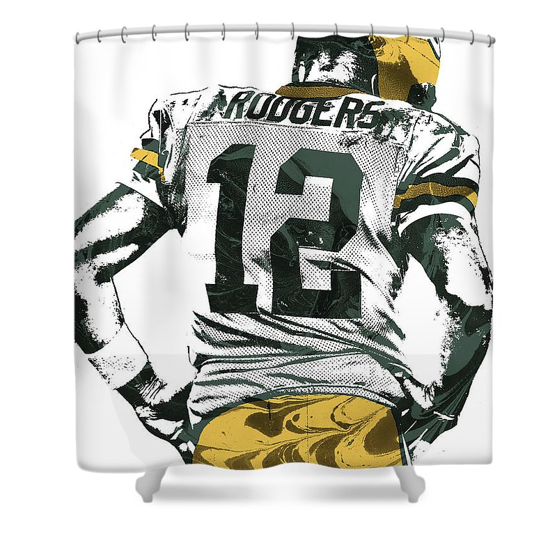 Aaron Rodgers Shower Curtain Featuring The Mixed Media Green Bay Packers Pixel Art 6