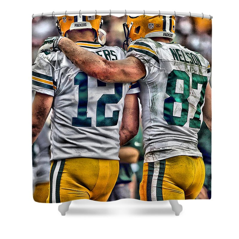 Aaron Rodgers Shower Curtain featuring the painting Aaron Rodgers Jordy Nelson Green Bay Packers Art by Joe Hamilton