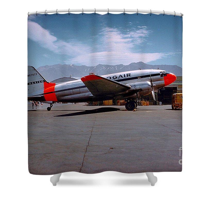 N67977 Shower Curtain Featuring The Photograph Aaxico Ch 28 Logair Curtiss C 46 Commando