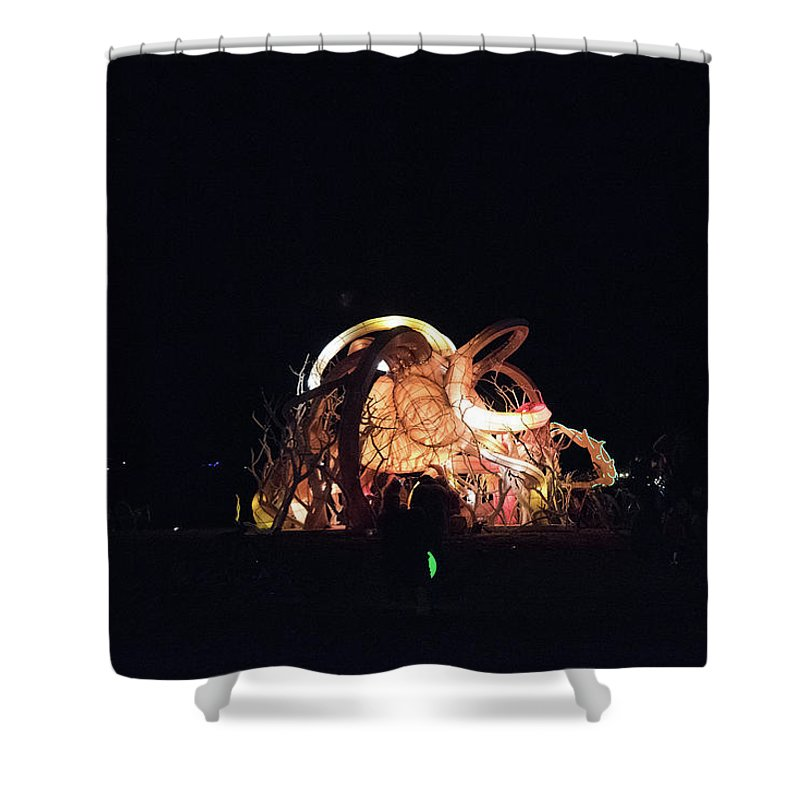 Afrika Burn Shower Curtain featuring the photograph Ab Artwork At Night by Gareth Pickering