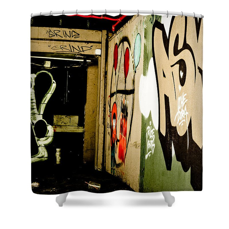 Graffiti Shower Curtain featuring the painting Abandoned And Grunge by Yurix Sardinelly