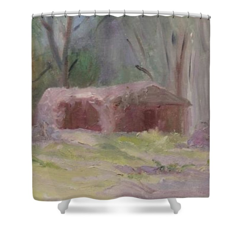 Landscape Shower Curtain featuring the painting Abandoned by Barbara Harrison