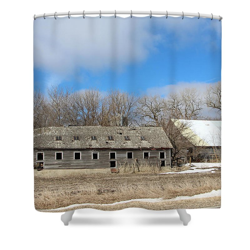 Abandoned Barn And Shed Shower Curtain featuring the photograph Abandoned Barn And Shed by Kathy M Krause