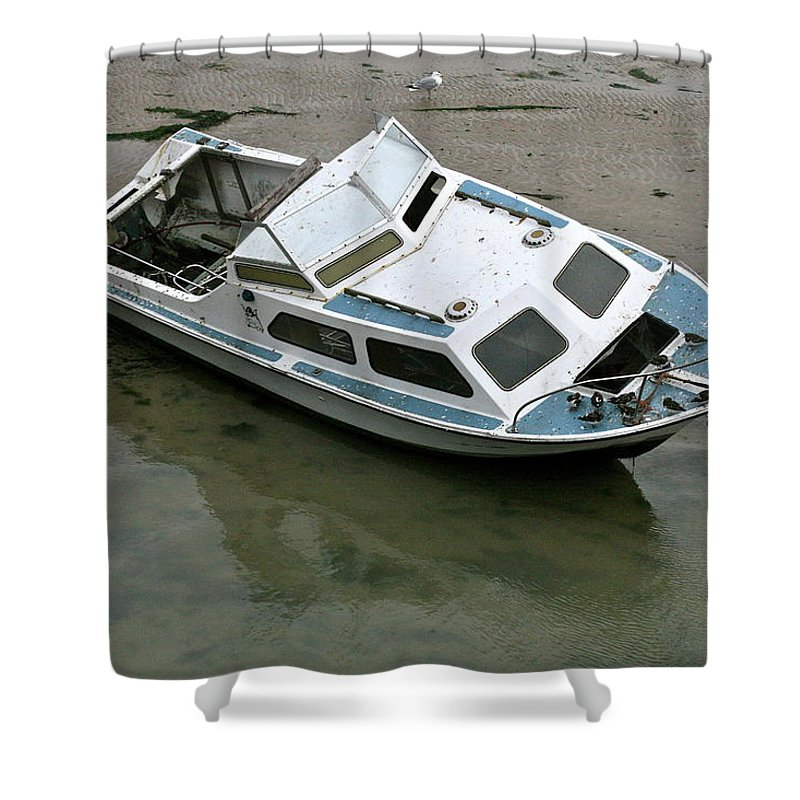 Boat Shower Curtain featuring the photograph Abandoned Boat by Steve Swindells