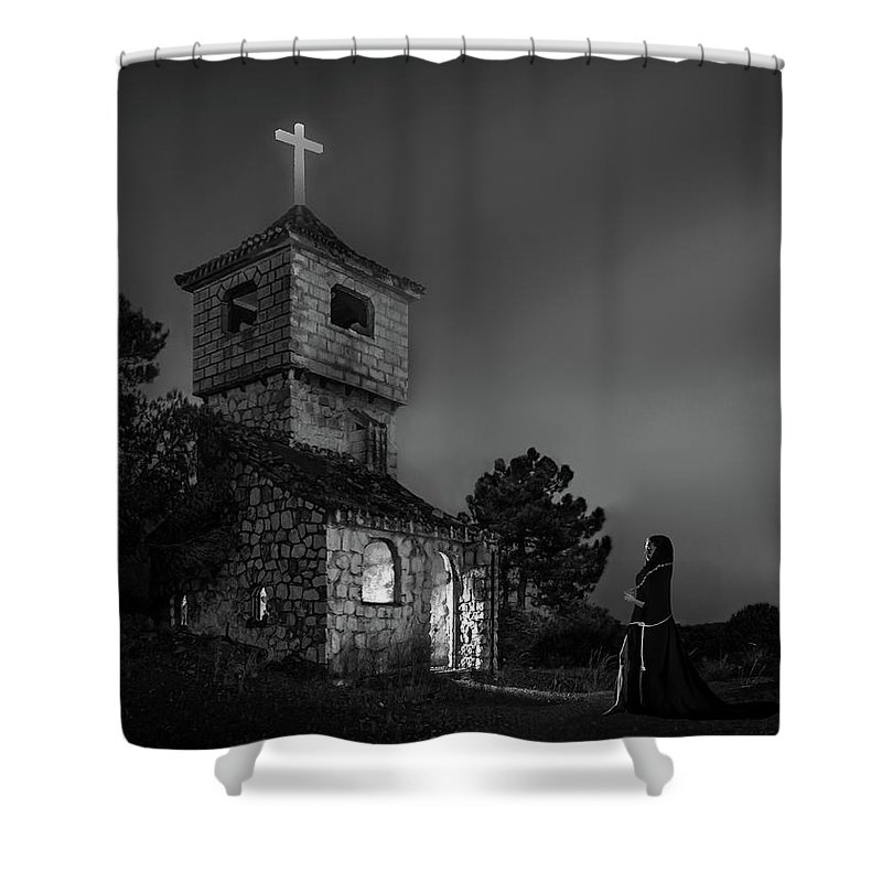 Abandoned Shower Curtain featuring the photograph Abandoned Church At Night. Mysterious Nun by Peter Hayward Photographer