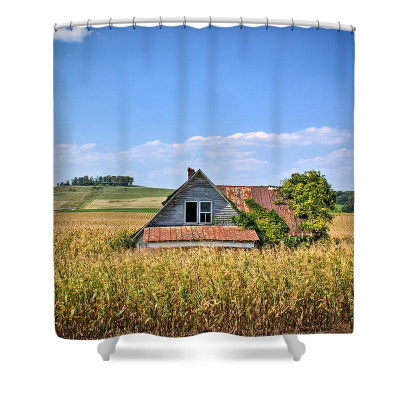 Abandoned Shower Curtain featuring the photograph Abandoned Corn Field House by Douglas Barnett