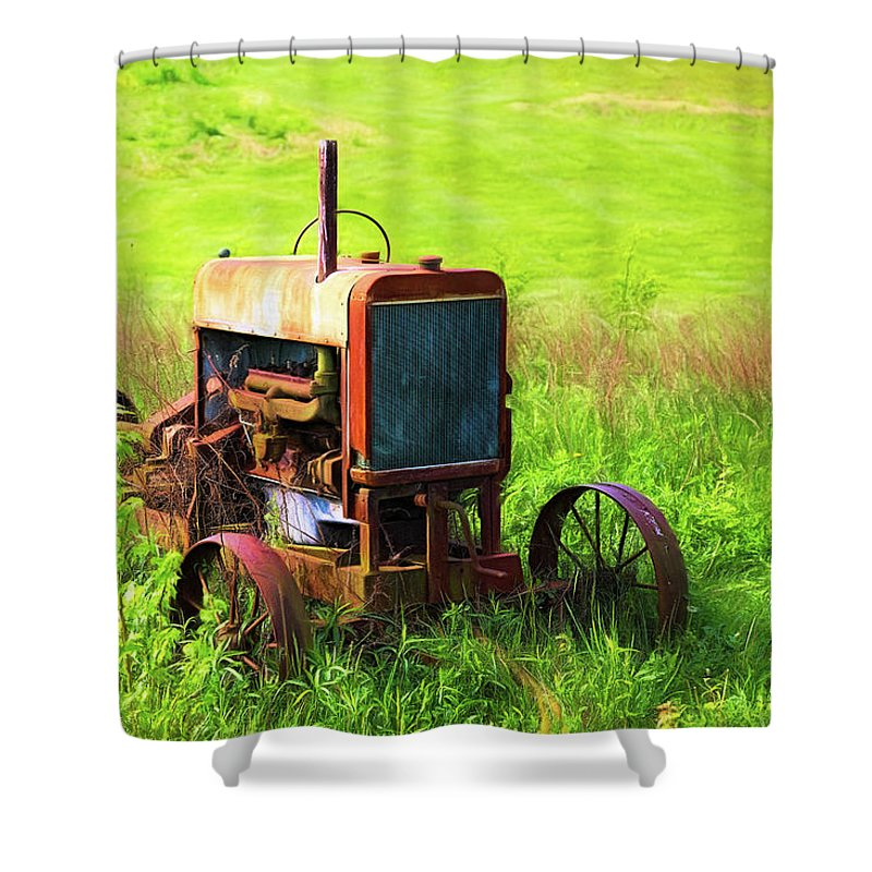 Tractor Shower Curtain featuring the photograph Abandoned Farm Tractor by Tom Mc Nemar
