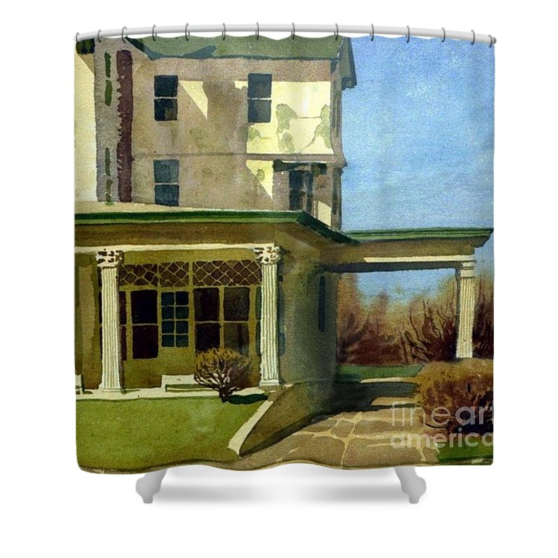 Spring Lake Shower Curtain featuring the painting Abandoned Hotel by Donald Maier