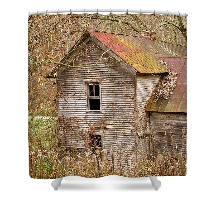 Abandoned Shower Curtain featuring the photograph Abandoned House With Colorful Roof by Douglas Barnett