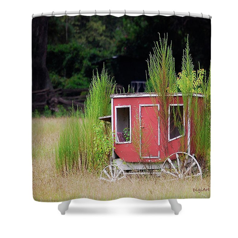 Carriage Shower Curtain featuring the digital art Abandoned In The Field by DigiArt Diaries by Vicky B Fuller