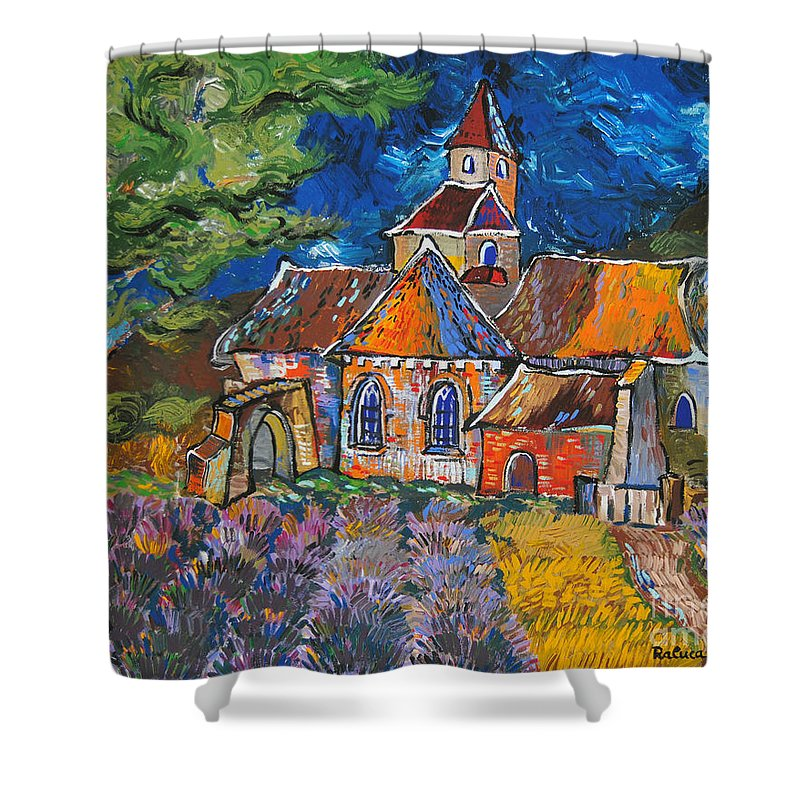 Landscape Shower Curtain featuring the painting Abbaye De Senanque by Raluca Nedelcu